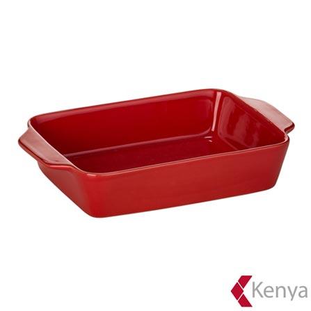 Travessa Retangular em Cerâmica Charcoal Vermelha - Kenya, Vermelho, Spicy, Cerâmica, 01 Peça