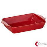Travessa Retangular 36x22 cm em Cerâmica Charcoal Vermelha - Kenya