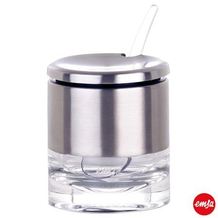 Pote Multi Uso em Acrílico e Aço Inox com Colher Accenta - Emsa, Inox, Spicy, 01 Peça, Acrílico e Inox