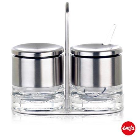 Conjunto de Potes Multi Uso com 150 ml e Suporte em Acrílico e Aço Inox com 2 Peças Accenta - Emsa, Inox, Spicy, 02 Peças, Acrílico e Inox