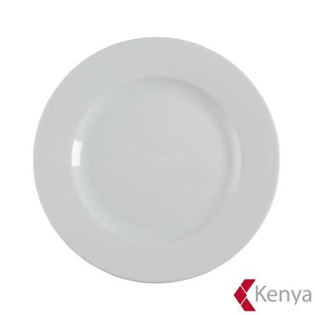 Prato Raso de Porcelana 27 cm de Diâmetro Branco - Kenya, Branco, Spicy, Porcelana, 01 Peça