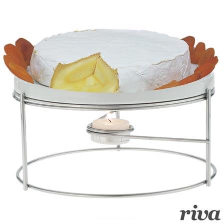 Rechaud para Queijo Brie em Aço Inox e Porcelana - Riva, Inox, Spicy, Inox e Porcelana, 01 Peça