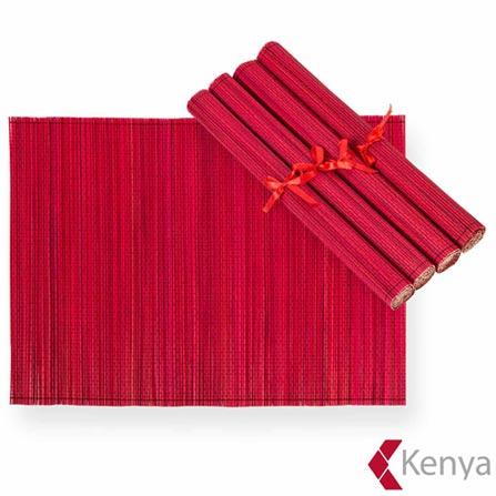 Jogo Americano em Bambu com 4 peças Vermelho - Kenya, Vermelho, Spicy, Bambu, 04 Peças