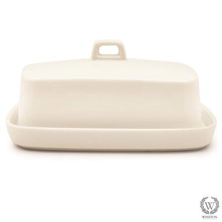 Manteigueira com Tampa de Porcelana Branca - Winston, Branco, Spicy