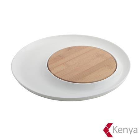 Petisqueira Redonda de Porcelana e Bambu com 32cm de Diâmetro - Kenya, Não se aplica, Spicy