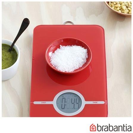 Balança Digital para Cozinha Vermelha - Brabantia, Vermelho, Spicy, Vidro, 01 Peça