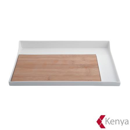 Petisqueira Retangular de Porcelana e Bambu com 32x22cm - Kenya, Não se aplica, Spicy