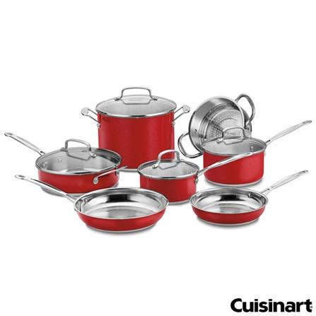 Conjunto de Panelas Classic em Aço Inox com 07 Peças Vermelho - Cuisinart, Vermelho, Spicy, Aço Inoxidável, 07 Peças