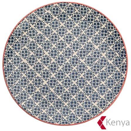 Prato Raso em Cerâmica Florals Azul – Kenya, Azul, Spicy, Cerâmica, 01 Peça
