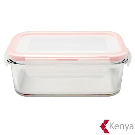 Pote Hermético Retangular em Vidro com 2 Litros de Capacidade Laranja – Kenya, Laranja, Spicy, Vidro, 1