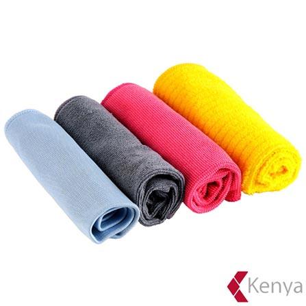 Conjunto de Toalhas para Limpeza em Microfibra com 04 Peças Colorido – Kenya, Colorido, Spicy, Microfibra