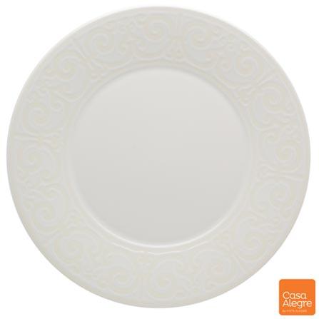 Prato para Sobremesa em Cerâmica Cottage Branco - Casa Alegre, Branco, Spicy, Cerâmica, 01 Peça
