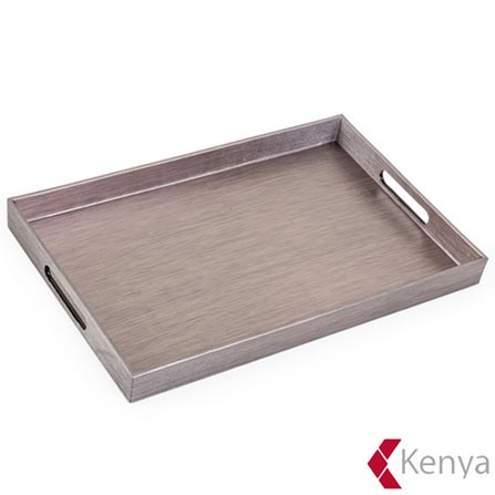 Bandeja em Polipropileno New Celebrate Mineral com 29x22 cm Cinza – Kenya, Cinza, Spicy, Polipropileno, 01 Peça