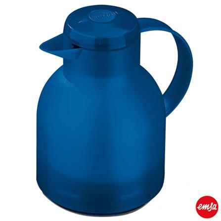Garrafa Térmica com Capacidade Samba Ocean Quick Press  Azul - Emsa, Azul, Spicy, Plástico