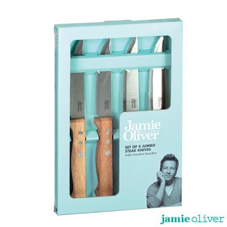 Jogo de Facas com 04 Peças em Aço Inox - Jamie Oliver, Inox, Spicy, Inox, Até 30 peças, 04 Peças