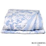 Colcha Boutie Single com Porta Travesseiros Victoria Branco e Azul - Blue Gardênia