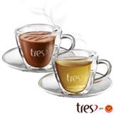 Conjunto de Xícaras Coração para Café em Vidro 120 ml com 02 Peças - Tres