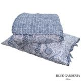 Colcha Boutie Queen com Porta Travesseiros Sunflower Branco e Azul Marinho - Blue Gardênia