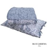 Colcha Boutie Single com Porta Travesseiros Sunflower Branco e Azul Marinho - Blue Gardênia