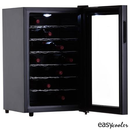 Adega de Vinhos Easy Cooler para 28 Garrafas Termoeletrica Preta - JC-65G, 110V, Preto, 12 meses, Spicy