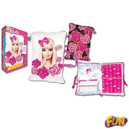 Travesseiro com Diário Secreto Barbie Barão Toys Fun – 72725, BQ, 3 meses