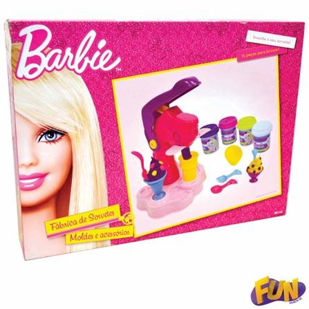 Massinha Fábrica de Sorvete Barbie Luxo, BQ, 3 meses