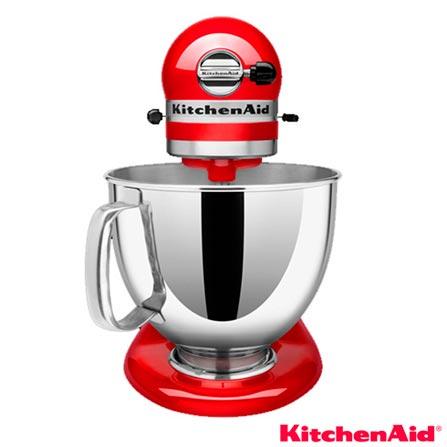 Batedeira Planetária KitchenAid Stand Mixer com 10 Velocidades e 03 Batedores - KEA33CV, 110V, 220V, Vermelho, 4,8 Litros, 10, 275 W, 12 meses