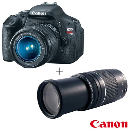 Câmera Digital DSLR Canon EOS Rebel T3i 18MP + Lente Canon 18-55mm + Lente Canon Zoom Telefoto EF 75-300mm f/4-5.6 III, 0, Semi-Profissionais, 18 MP, 3'', Não, Full HD, 1 ano