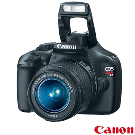 Câmera Digital DSLR Canon EOS REBEL T3 + Objetiva + Lente Canon Zoom Telefoto, De 12.1 MP a 14 MP, 0
