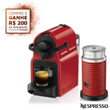 Combo Cafeteira Nespresso Inissia Rubi para Cafe Espresso + Espumador de Leite Aeroccino 3 Vermelho - A3NC40BR