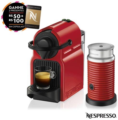 Combo Cafeteira Nespresso Inissia Rubi para Café Espresso + Espumador de Leite Aeroccino 3 Vermelho - A3NC40BR, 110V, 220V, Vermelho, Espresso automática, Cápsulas, 0,7 Litros, 19 Bars, Não especificado, Café espresso, Não especificado, Não especificado, 12 meses