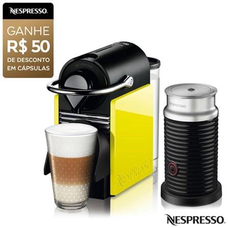 Cafeteira Nespresso Combo Pixie Clips Black and Lemon Neon para Café Espresso, 110V, 220V, Preto e Verde, Espresso automática, Cápsulas, 0,7 Litros, 19 Bars, Não especificado, Café espresso, Não especificado, Não especificado, 12 meses