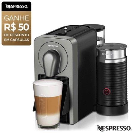 Cafeteira Nespresso Prodígio & Milk Cinza para Café Espresso - C75-BR, 110V, 220V, Cinza, Espresso automática, Cápsulas, 0,8 Litros, 19 Bars, 01 xícara, Ristretto, Espresso, Lungo, Cappuccinos e Lattes Macchiatos, Não especificado, Não especificado, 12 meses
