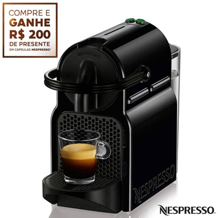 Cafeteira Nespresso Inissia Preta para Café Espresso - D40BRBKNE, 110V, 220V, Preto, Espresso automática, Cápsulas, 0,7 Litros, 19 Bars, 01 xícara, Café Espresso e Lungo, Não especificado, 110 V - 1280W e 220V - 1150W, 12 meses