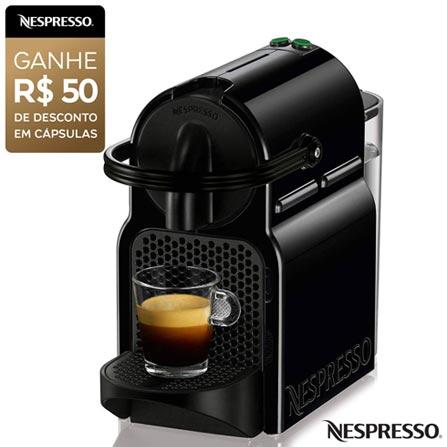 Cafeteira Nespresso Inissia Preta para Café Espresso - D40BRBKNE, 110V, 220V, Preto, Espresso automática, Cápsulas, 0,7 Litros, 19 Bars, Não especificado, Café Espresso e Lungo, Não especificado, 110 V - 1280W e 220V - 1150W, 12 meses