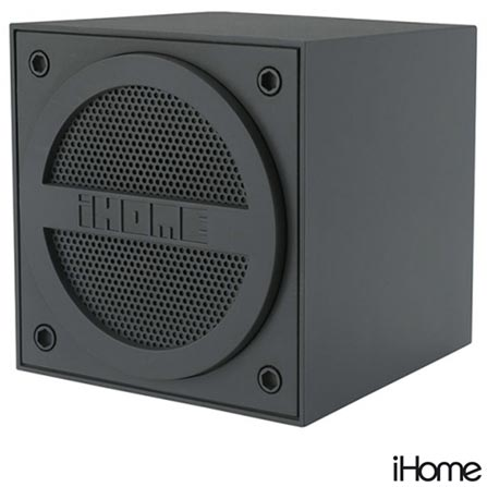 Mini Caixa Acústica Portátil Emborrachada com Bluetooth Cinza - iHome - IBT16G, Bivolt, Bivolt, Cinza, 03 meses