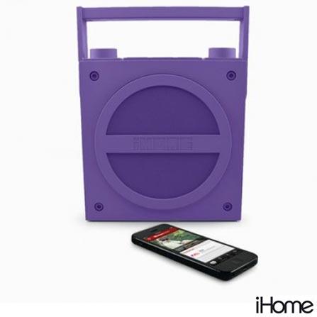 Caixa Acústica Retro Portátil com Bluetooth e Rádio Emborrachado Roxa - iHome - HIIBT4U, Bivolt, Bivolt, Roxo, 03 meses