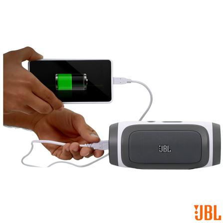 Dock Charge com 10W RMS e Conectividade Bluetooth e Conexão P2 Cinza e Prata JBL - CHARGE, Bivolt, Bivolt, Cinza e Prata, Sim, 5 W, Sim, Não, Não se aplica, 12 meses