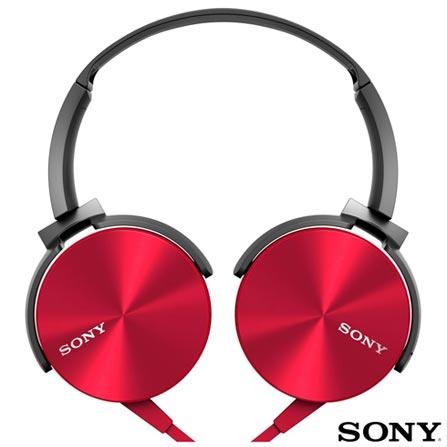 Fone de Ouvido Sony Headphone Vermelho - MDR-XB450AP/R, Vermelho, Headphone, 12 meses