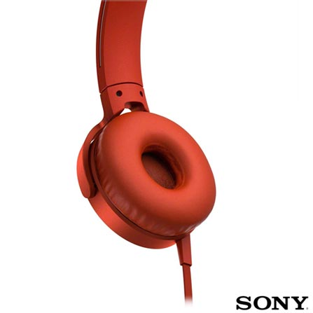 Fone de Ouvido Sony Headphone com Extra Bass Vermelho - MDR-XB550APR, Vermelho, Headphone, 03 meses