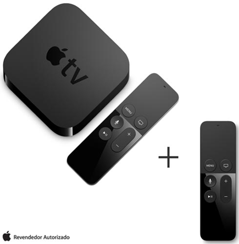 Apple TV com 32 GB e Processador A8 Preto - Apple - MGY52BZA + Controle Remoto para Apple TV Preto - MG2Q2BEA, 1
