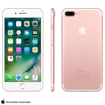iPhone 7 Plus Ouro Rosa, 5,5, 128GB, 12 MP - MN4U2BZ/A + Cabo Lightning USB Apple para iPod, iPhone e iPad  MD818BZ/A, 1