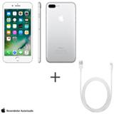 iPhone 7 Plus Prata, 5,5, 256GB, 12 MP - MN4X2BZ/A + Cabo Lightning USB Apple para iPod, iPhone e iPad  MD818BZ/A