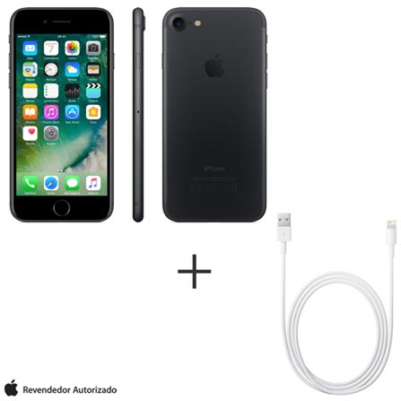 iPhone 7 Preto Matte 4,7,32 GB, 12 MP - MN8X2BZ/A + Cabo Lightning USB Apple para iPod, iPhone e iPad  MD818BZ/A, 1