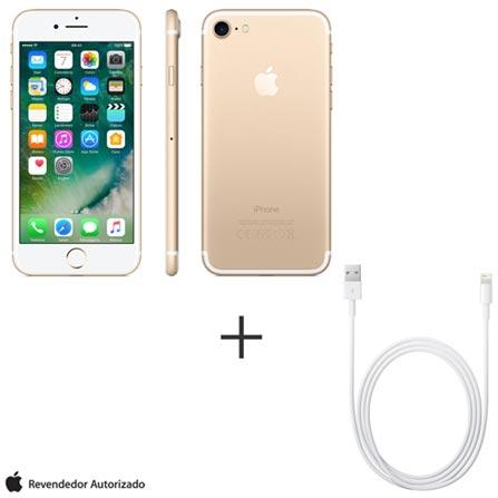 iPhone 7 Dourado, 4,7, 4G, 128 GB e 12 MP - MN942BZ/A + Cabo Lightning USB Apple com 1 metro - MD818BZ/A, 0