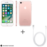 iPhone 7 Ouro Rosa, 4,7, 4G, 128 GB e 12 MP - MN952BZ/A + Cabo Lightning USB Apple com 1 metro - MD818BZ/A