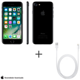 iPhone 7 Preto Brilhante 4,7, 128GB 12 MP - MN962BZ/A + Cabo Lightning USB Apple para iPod, iPhone e iPad  MD818BZ/A