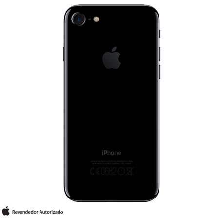 iPhone 7 Preto Brilhante 4,7, 128GB 12 MP - MN962BZ/A + Cabo Lightning USB Apple para iPod, iPhone e iPad  MD818BZ/A, 1