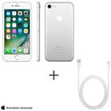 iPhone 7 Prata, 4,7, 256 GB, 12 MP - MN982BZ/A + Cabo Lightning USB Apple para iPod, iPhone e iPad  MD818BZ/A