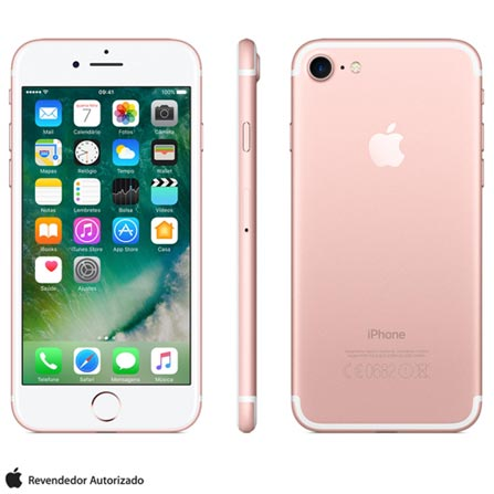 iPhone 7 Ouro Rosa, 4,7, 256GB, 12MP - MN9A2BZ/A + Cabo Lightning USB Apple para iPod, iPhone e iPad  MD818BZ/A, 0